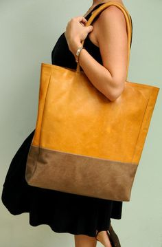 INGENUE. Leather shoulder bag / handbag / oversize tote. Available in different leather color combinations.. $200,00, via Etsy.