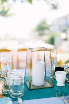 Gold Lantern Centerpiece & Turquoise Table Runner