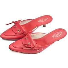 Tod's Pink Leather Pointed Heels 7.5