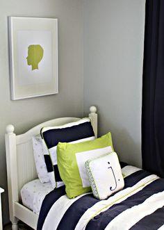 Grey, green & navy color scheme