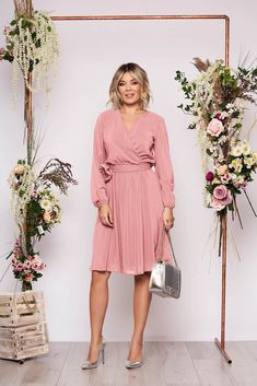 StarShinerS lightpink dress occasional midi cloche airy fabric with elastic waist long sleeved wrap over front Evening Dresses, Prom Dresses, Baptism Dress, Fabric Textures, Dress Cuts, Wedding Dress Styles, Elastic Waist, Fashion Dresses, Long Sleeve