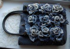 Валяная сумка серая с розами - серый,валяная сумка,войлочная сумка,сумка ручной работы
