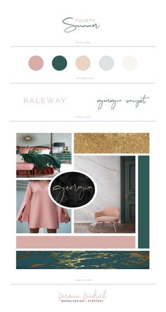 Professional Logo Design and Moodboard Design for beauty, fashion, and lifestyle bloggers. Green | pink | green marble gold
