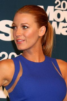 Blake isn't the only one who can make a ponytail look so polished—use a toothbrush and some hairspray to get rid of pesky flyaways. #hairstyles #blakelively