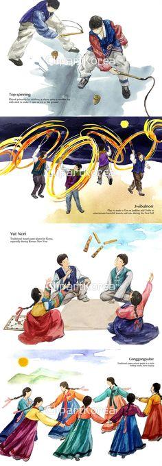 강강술래 놀이 머리댕기 민속놀이 보름달 손잡기 수채화 여러명 여자 일러스트 전신 전통 전통의상 추석 페인터 한국전통 한복 함께함 회전 팽이치기…