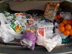 Food Bank On Wheels Food Hampers with purchased perishables