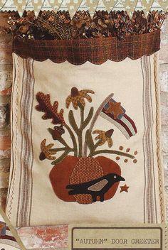 Primitive Folk Art Wool Applique Pattern: by PrimFolkArtShop, Autumn door greeter