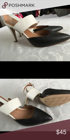 Black and white closed toe open back heels Halogen. New. Open back closed toed heels. Halogen Shoes Heels