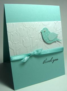 handmade card ... clean and simple ... aqua and white ... two-step bird in same tone printed papers ... tulip embossing folder on main white panel ... sweet card ... Stampin'