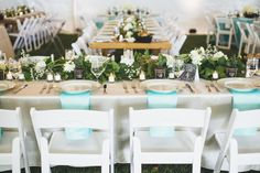 Northwest Teal and Green Wedding | Seattle Farm Tables | Teal Napkins | Table Garland Runner | David Lai Photography | Seattle Wedding Planner | New Creations Weddings | DeLille Cellars Wedding