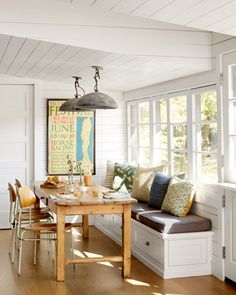A wine country cottage was renovated by designer Laurie Furber of Elsie Green House & Home, set on a sprawling 28 acre property in Napa Valley, California. Kitchen Benches, Kitchen Nook, Kitchen Cabinetry, Window Seat Kitchen, Kitchen Seating, Kitchen Storage, Kitchen Dining, Kitchen Ideas, Kitchen Decor
