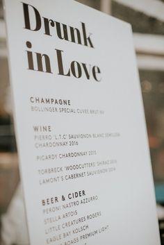 Drunk in love wedding bar menu Wedding Signage, Wedding Menu, Wedding Tips, Wedding Details, Wedding Planning, Wedding Day, Wedding Hacks, Wedding Drink Signs, Modern Wedding Ideas