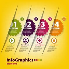 Conjunto de quatro adesivos para infogr Banco de Imagens