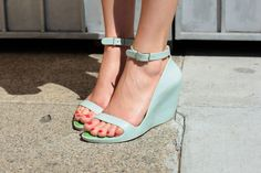 Mint green wedges.
