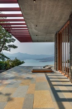Single Level Pavilion Build as a Retreat to Escape the Frenetic Pace of Mumbai… - architecture Home Design, Decor Interior Design, Interior Decorating, Design Ideas, Mumbai, Basalt Stone, Villa, Mountain Homes, India