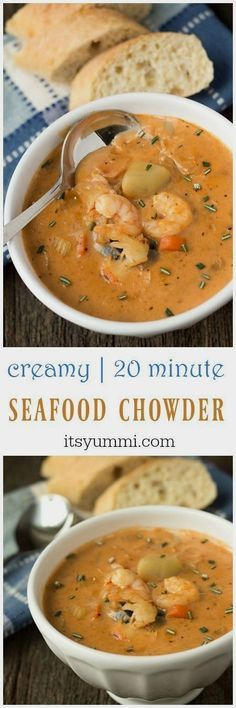 This creamy seafood chowder recipe begins with an easy-to-make homemade seafood stock. Potatoes, shrimp, crab, and lobster meat are added. creamy seafood chowder Solveig Dittmann solveigcd Loom patterns This creamy seafood chowder recipe begins wit Chowder Soup, Chowder Recipes, Seafood Recipes, Cooking Recipes, Seafood Appetizers, Shrimp Chowder, Easy Recipes, Potato Recipes, Lobster Chowder