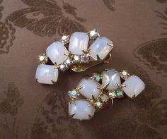 Vintage opal glass earrings, milky opal glass crescent shaped gold tone rhinestone clip on earrings by snapconclusions on Etsy