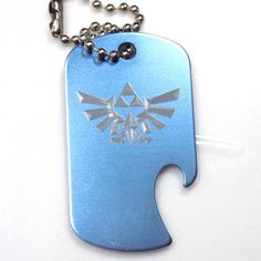 "Zelda Baby Blue Key Chain With 4"" Chain Dog Tag Aluminum Bottle Opener EDG-0291"