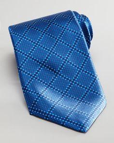 Stefano Ricci Tonal Grid Silk Tie, Blue - Neiman Marcus ($200)