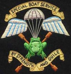 """The emblem of the SBS, Special Boat Service, shown here has the new motto, """"By strength and guile."""" The old motto was, """"Not by strength by guile. Sgt Casey in The Witness is sinister. Military Weapons, Military Art, Military History, Sas Special Forces, Military Special Forces, Special Air Service, Special Ops, Badges, Naval Special Warfare"""