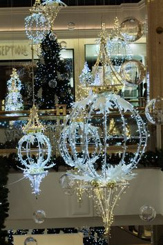50 Christmas Village Window Display Ideas – Home to Z – Outdoor Christmas Lights House Decorations Xmas Window Decorations, Christmas Window Lights, Outdoor Christmas Decorations, Holiday Lights, Elegant Christmas, Noel Christmas, Christmas Crafts, Christmas Ornaments, Christmas Displays
