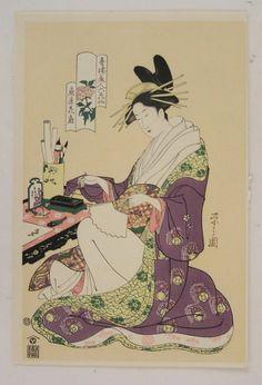Beauty, courtesan, fan, letter  Japanese woodblock print Eishi