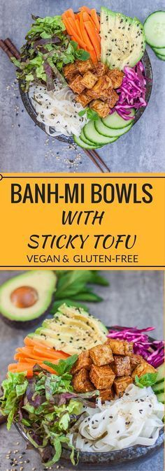 These Bank-Mi bowls with sticky tofu are a take on the traditional Vietnamese sandwich-with a twists! They're healthy, vegan, and gluten-free!