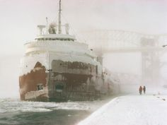 Snow covered IRVING S. OLDS, Lake Bulk Freighter   Photo by: James L. Amos/Corbis