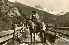 RP: Local woman on horse , Au Val d'Herens , ; Local Women, Sales Image, Original Image, Switzerland, Horses, Antiques, Painting, Animals, Woman