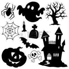 Vector set of halloween silhouette elements Free vector in Encapsulated… Bolo Halloween, Moldes Halloween, Art Halloween, Image Halloween, Manualidades Halloween, Halloween Rocks, Halloween Drawings, Halloween Pictures, Diy Halloween Decorations