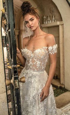 berta spring 2019 bridal off the shoulder sweetheart neckline full embellishment romantic a line wedding dress open back chapel train (1) zv -- Berta Spring 2019 Wedding Dresses | Wedding Inspirasi #wedding #weddings #bridal #weddingdress #bride ~