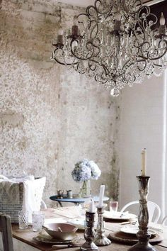 Love the mix of chandelier and rustic wall Shabby Chic Dining Inspiration (images we like, not products of Chichi) Decor, Rustic Chic, House Design, Shabby Chic, Purple Home, Interior, Rustic Glam, Chandelier, Industrial Glam