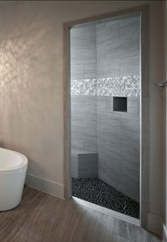 This textured grey shower is just beautiful!
