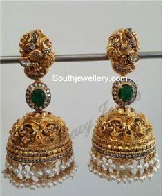 Antique Gold Nakshi Jhumkas photo