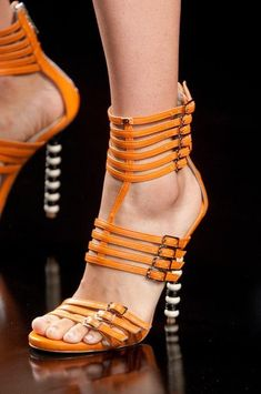 Make it interesting with a John Richmond Orange Strappy Buckled Sandal style Orange Sandals, Orange Shoes, Orange Pumps, Navy Sandals, Ankle Boots, Shoe Boots, Spring Sandals, Hot Shoes, Shoes Heels