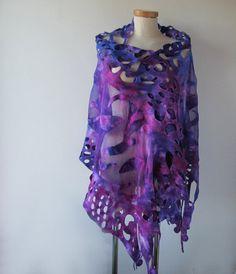 Nuno Felted scarf Blue Purple felt scarf Blue Purple by galafilc