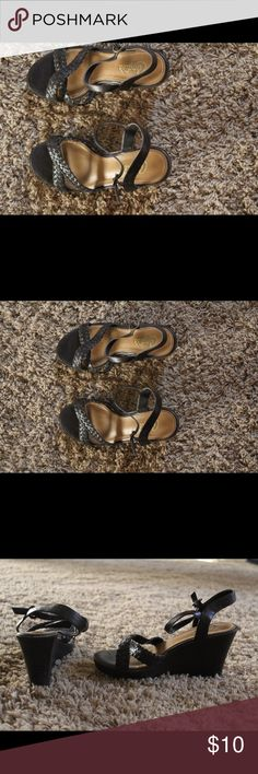 Chocolate brown wedge sandals Brown wedge sandals with braided strap in front.  Fun and comfy Candies Shoes Sandals