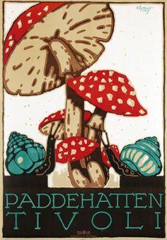 Van Sabben Poster Auctions - poster browser Vintage Images, Vintage Posters, Mushroom Art, Mushroom House, Type Illustration, Illustrations Posters, Vintage Illustrations, Vintage Advertisements, Diy Art