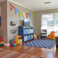 storage, warm neutrals, hardwoods, rugs