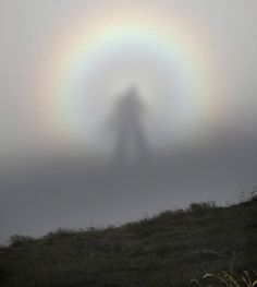 "A rare optic sight, the ""Brocken spectre,"" which occurs when a person stands at a higher altitude in the mountains and sees his shadow cast on a cloud at a lower altitude."