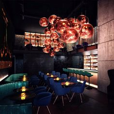 The soon to be opened Himitsu cocktail lounge in Atlanta, Georgia, designed by Tom Dixon Studio, will feature a veritable feast of gleaming copper—and an abundance of Tom Dixon's Melt copper pendants.