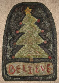 Primitive Rug Hooking Pattern-Believe by primitivejunky on Etsy