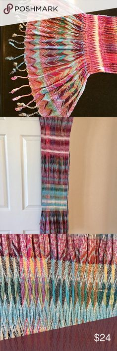 """Scarf: 82""""L ! pink turq yellow white, unique Scarf: 82""""L x 9""""W & 1.5"""" multi color scarf with braided fringe on ends. You won't find this unique scarf anywhere. Some sections are gathered, some smooth. 100% viscose. Violet del Mar Accessories Scarves & Wraps"""
