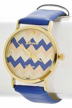 Online Clothing Boutique | Kelly Brett Boutique - Wrist Watch Chevron Time Blue Multi, $20.00 (http://www.kellybrettboutique.com/wrist-watch-chevron-time-blue-multi/)