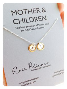 Initial Jewelry. Mother Children Necklace. Gold and Silver Necklace // Delicate Necklace www.erinpelicano.com