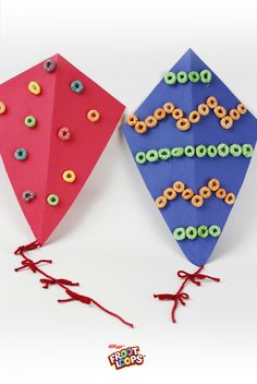 Have the kids celebrate warmer weather by decorating their bedroom walls with easy kites cutouts featuring colorful Froot Loops. March Crafts, New Year's Crafts, Summer Crafts, Crafts To Make, Crafts For Kids, Arts And Crafts, Toddler Crafts, Spring Activities, Craft Activities For Kids