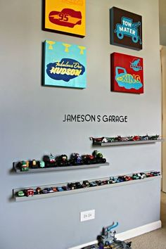 How to build picture ledges -- A nice storage/display idea for little boys' treasured cars. diy, how to, wall decor, woodworking projects