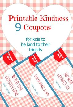 Coupons with Acts of Kindness for Kids  to do for their Friends