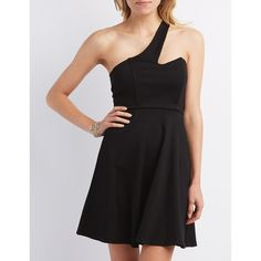 Charlotte Russe One-Shoulder Asymmetrical Skater Dress ($30) ❤ liked on Polyvore featuring dresses, black, asymmetrical wrap dress, one shoulder dress, structured dress, cutout dress and cut out skater dress