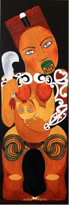 """Robyn Kahukiwa """"Hine Pukenga"""" 153 x 2015 Image Symbols, Maori Designs, New Zealand Art, Maori Art, Kiwiana, Indigenous Art, Mark Making, Artist Art, Art Forms"""